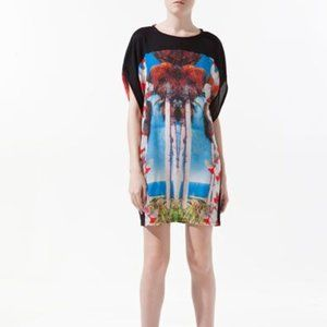 Zara Black Palm Tree Print Mini Dress